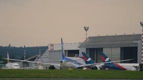 Boeing 787-9 Dreamliner prepares to take off stock video footage
