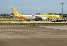 A Boeing 787 Dreamliner from Scoot (TZ) Stock Photography