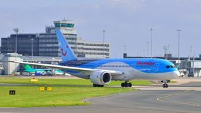 Boeing 787 Dreamliner. Taxiing at Manchester Airport stock image