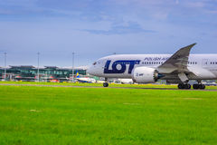 Boeing 787 Dreamliner. Wroclaw, Lower Silesian, Poland  June 17, 2013: Boeing 787 taxing to runway for takeoff. Training flight. Polish Airlines LOT Stock Photos