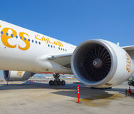 Boeing-777 in Dubai Airport Royalty Free Stock Images
