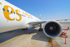 Boeing-777 in Dubai Airport Royalty Free Stock Image
