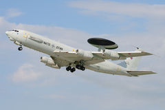 Boeing E-3A AWACS. E-3A (Boeing 707) AWACS of NATO after take off in Pardubice airport Stock Photography