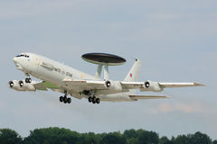 Boeing E-3A AWACS. E-3A (Boeing 707) AWACS of NATO after take off in Pardubice airport Royalty Free Stock Photos