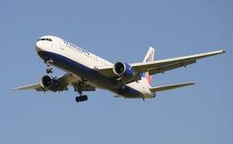 Boeing 767 (EI-RUZ) to Transaero on approach to Pulkovo airport Stock Photo