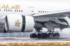 Boeing 777 Emirate, Flughafen Pulkovo, Russland St Petersburg im Januar 2017 Lizenzfreies Stockfoto