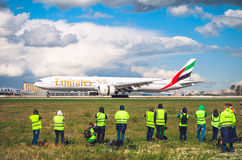 Boeing 777 Emirates airlines, airport Pulkovo, Russia Saint-Petersburg 11 May 2016 Stock Images