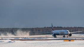 Boeing 777 emiratflygbolag Royaltyfria Bilder