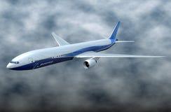 Boeing 777-300ER comercial aircraft. 3d rendering of textured 3d model of Boeing 777-300ER commercial aircraft created with blender3d internal render stock illustration