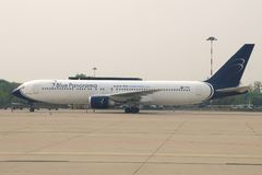 Boeing 767-3X2 ER I-BPAD Blue Panorama Airlines on the Malpensa airport in the early morning. MILAN, ITALY-SEPTEMBER 29, 2017: Boeing 767-3X2 ER I-BPAD Blue Royalty Free Stock Images