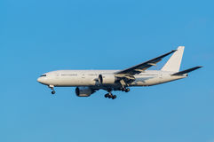 Boeing 777-200ER. Landing to the Haneda International Airport, Japan Royalty Free Stock Photo