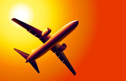 Boeing et coucher du soleil -  Photographie stock libre de droits