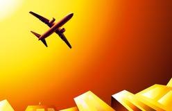 Boeing et coucher du soleil sur le capitaine de ciel  Images libres de droits