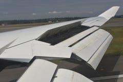 Boeing 747 fördjupade Wing Flaps Arkivbilder