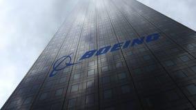 Boeing Företag logo på reflekterande moln för en skyskrapafasad Redaktörs- tolkning 3D Royaltyfria Foton