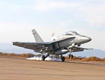 Boeing F-18 jet landing at El Cantro NAS. Boeing F/A-18 landing at El Cantro NAS Stock Image
