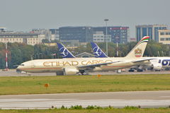 Boeing 777-FFX. This is a view of Etihad Cargo the biggest double engine plane in the world Boeing 777-FXX registered as A6-DDC. September 16, 2015. Warsaw Royalty Free Stock Photos