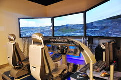 Boeing flight simulator at Singapore Airshow stock photos