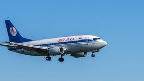 Boeing-Flugzeug im Flug Kopien-Raum Stockfoto