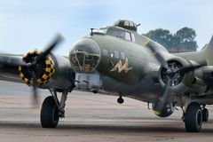 Boeing Flying fortress B17G, Sally B at Scampton air show on 10 September, 2017. Lincolnshire active Royal Air force base. Stock Images