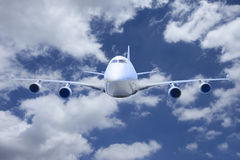 Boeing 747 flying in the sky Royalty Free Stock Image