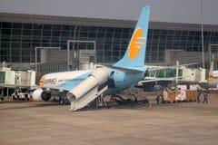 Boeing 737-800 a fonctionné par Jet Konnect à l'aéroport international de Kolkata Images stock