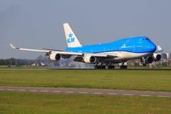 Boeing 747 från KLM Arkivfoto