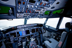 Boeing interior. Cockpit view inside the airliner Royalty Free Stock Photos