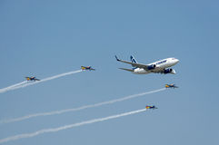 Boeing 737 an internationaler Flugschau Bukarests 2013 Stockfoto