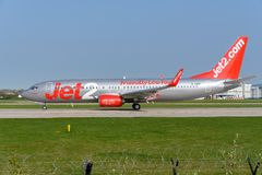 737 boeing jet2 Royaltyfri Bild