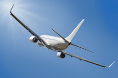 Boeing 737. Jet aeroplane landing through sky with clipping path stock photos