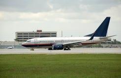 Boeing jet on runway Stock Photos