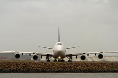 Boeing 747 jumbo jet in front view Royalty Free Stock Photography