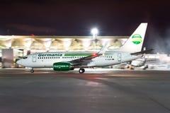 Boeing 737-700 klipska Germania Första flyg som möter Ryssland, St Petersburg Pulkovo flygplats, 27 April 2018 Royaltyfria Foton