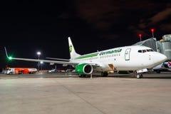 Boeing 737-700 klipska Germania Första flyg som möter Ryssland, St Petersburg Pulkovo flygplats, 27 April 2018 Royaltyfria Bilder