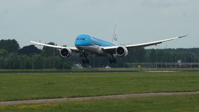 Boeing 787 of KLM airlines arrives to Schiphol airport stock video footage