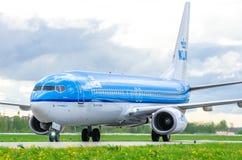 Boeing 737 KLM-Fluglinien, Flughafen Pulkovo, Russland St Petersburg im August 2016 Lizenzfreies Stockbild