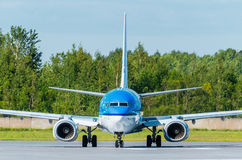 Boeing 737 KLM-Fluglinien, Flughafen Pulkovo, Russland St Petersburg im August 2015 Lizenzfreies Stockbild