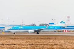 Boeing 737 KLM-Fluglinien, Flughafen Pulkovo, Russland St Petersburg im August 2016 Lizenzfreie Stockfotografie
