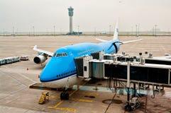 Boeing 747 KLM-vliegtuig Stock Foto's