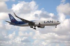 Boeing 767 LAN Airlines landing at Miami International Airport. Royalty Free Stock Image