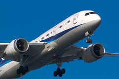 Boeing 787. Landing to the Haneda International Airport, Japan Royalty Free Stock Photo