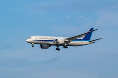 Boeing 787-8. Landing to the Haneda International Airport, Japan Royalty Free Stock Photos