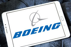 Boeing logo. Logo of aircraft manufacturer, boeing on samsung tablet Royalty Free Stock Images