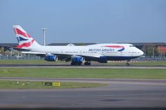 Boeing 747. LONDON, UK - APRIL 16, 2014: British Airways Boeing 747 after landing at London Heathrow airport. BA operates fleet of 283 aircraft (largest in the Stock Photo