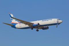 Boeing-737 Lufthansa Arkivbild