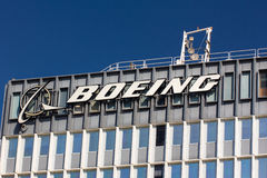 Boeing Manufacturing Facility and Logo Stock Images