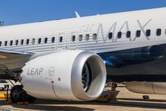 Boeing 737 MAX with Leap engine. Detail of the Leap engine in a Boeing 737 MAX aircraft. This engine is a successor to the CFM56 engine royalty free stock images