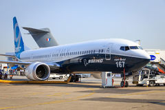 Boeing 737-9 Max. The newest version of the 737, at the Paris Air Show, le Bourget royalty free stock image