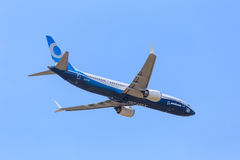 Boeing 737-9 Max. The newest version of the 737, at the Paris Air Show, le Bourget royalty free stock photo